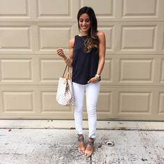 Black Tank + White Skinnies + Louis Vuitton Neverfull Tote | adoubledose.com