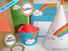 Free Printable, Party Printable, Kawaii, Paper Crafts, Kids Crafts, Stationery, Printable: FREE Rainbow Party Kit