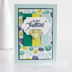 Eine funkelnde Karte mit vielen Diamanten und Brillanten zeige ich euch hier. Ich habe das Stempelset You're Priceless verwendet.