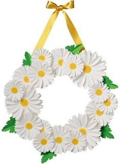 Crisp white daisies paired with clover green leaves feel so springtime fresh. Make this wreath on a rainy afternoon and enjoy the cheer it brings! Adorn your front door, hang above a mantel or display Kids Crafts, Crafts For Teens To Make, Crafts For Seniors, Spring Crafts For Kids, Preschool Crafts, Easter Crafts, Crafts To Sell, Diy And Crafts, Paper Flower Wreaths