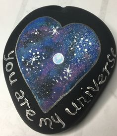 Universe galaxy painted rock -by Kerry Pebble Painting, Stone Painting, Rock Painting, School Projects, Projects To Try, Galaxy Painting, Kindness Rocks, Stone Heart, Rock Art