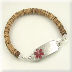 Medical Alert Coco Beads Bracelet  http://www.designs-by-diana.com/