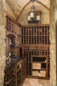 Traditional Wine Cellar with High ceiling, limestone tile floors, Pendant Light Caves, Bodega Bar, Wine Cellar Basement, Home Wine Cellars, Wine Cellar Design, Wine House, Wine Fridge, Wine Storage, My Dream Home