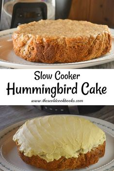 This Slow Cooker Hummingbird Cake is full of flavor and is topped with an easy buttercream frosting made with a box of pudding mix! Slow Cooker Cake, Slow Cooker Desserts, Slow Cooker Recipes, Crockpot Recipes, Crockpot Dishes, Cake Mix Recipes, Dessert Recipes, Humingbird Cake Recipe, Easy Buttercream Frosting