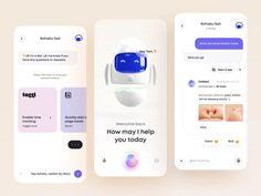 Kohaku Bot - Mobile App by Tran Mau Tri Tam ✪ for UI8 on Dribbble Mobile App Design, Mobile Ui, Kohaku, Ui Design Inspiration, Ui Kit, Web Design, Phone, Illustration, Design Web
