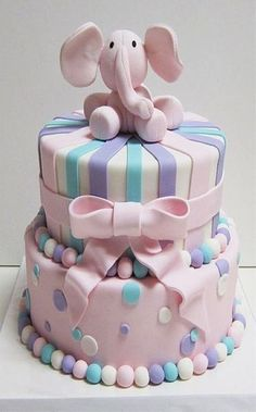 Cute pastel two tiered Pink Elephant cake. Perfect cake for Baby Shower cake or little ones Christening or Birthday. Pretty Cakes, Cute Cakes, Beautiful Cakes, Amazing Cakes, It's Amazing, Torta Baby Shower, Baby Cakes, Cupcake Cakes, Elephant Cakes