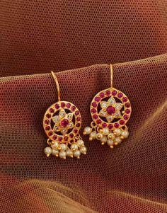 Pink Colour Floral Design Maharashtrian Bugadi - November 02 2019 at Gold Jhumka Earrings, Jewelry Design Earrings, Gold Earrings Designs, Gold Ring Designs, Gold Jewellery Design, Ear Jewelry, Bead Jewellery, Temple Jewellery, Jewelry Sets
