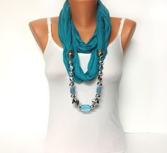 Turquoise jewelry scarf - turquoise color scarf with crystal and acrylic beads