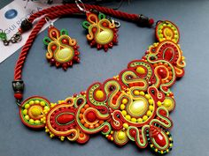 Ethnic jewelry, yellow red soutache Necklace, small earrings, jewelry set, Gioielli orecchini collana, Ohrringe, Boucle d'oreilles, Gift mom