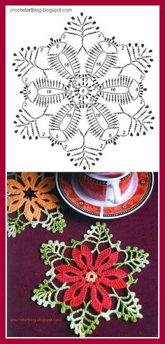 envisioning this in spring colors, and maybe as a suncatcher, or coaster set (gifts) Pretty Christmas crochet small doily motif pattern. Plus many other free patterns. Crochet Diy, Crochet Motifs, Crochet Diagram, Crochet Chart, Crochet Squares, Thread Crochet, Crochet Doilies, Crochet Flowers, Crochet Stitches