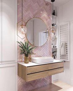 Elegant and luxurious bathroom design ideas for stylish decor -. - Elegant and luxurious bathroom design ideas for stylish decor – - Pink Bathroom Tiles, Pink Tiles, White Tiles, Modern Bathroom, Master Bathrooms, Bathroom Wallpaper, Dream Bathrooms, Pink Small Bathrooms, Pink Wallpaper For Bedroom
