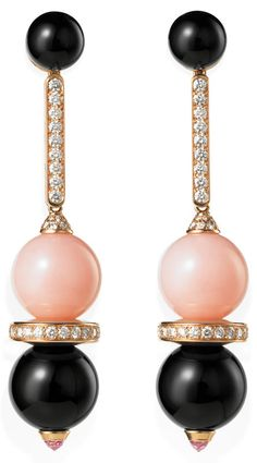 Palm Beach Illustrated. Pink opal beads stand out in these ear pendants from Cartier's Evasions Joaillieres Collection. They contrast with the onyx, diamonds and pink sapphires, all set in pink gold. Price upon request. Palm Beach (561-655-5913, cartier.com) and Boca Raton (561-367-9100)