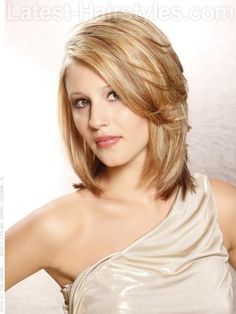 Layered Softly Medium Length Blonde Bob with Long Layers