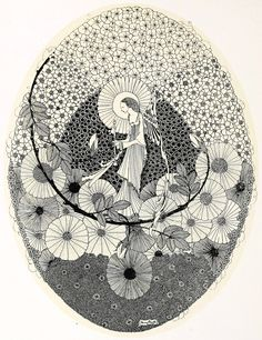 """Harry Clarke ~ The Year's at the Spring ~ To the Coming Spring ~ 1920 """"With magic key… unlocking buds that keep the roses"""""""