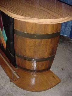 Vintage Whiskey Barrel Wine Barrel Bar and Bar Stools Gameroom Man Cave | eBay