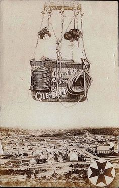 Vintage postcard used in 1909 showing Brisbane in 1862, photo taken from the Observatory   by Named Faces from the Past