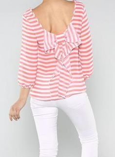 Pink Three-Quarter/Long Sleeve Top - Pink Striped Bow Back Top