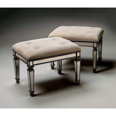 Butler Celeste Mirror & Mahogany Mirrored Vanity Seat 1214146