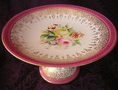 Handpainted Floral Victorian Porcelain Compote or Cake Plate