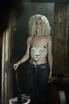 Sheri Moon Zombie taking a break during filming of Rob Zombie's new movie, 31 out later this year #horrormovies
