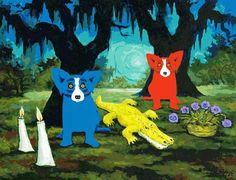"""Who Will She Be Today"" by George Rodrigue. One of my current favorite Blue Dog prints <3"