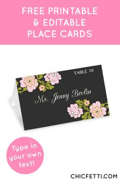 Free Printable Flower Place Cards from @chicfetti - perfect for weddings or parties!