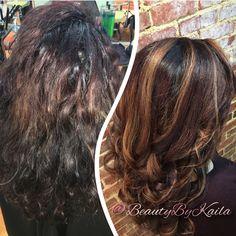 Textured hair transformation, balayage high lights.