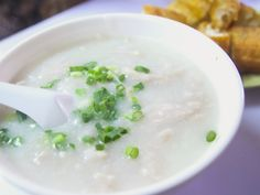 Also known as jook, congee turns up in Chinese households morning, noon, and night. This thick rendition is made heartier with the addition of chicken.