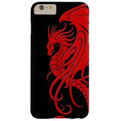 Flying Tribal Dragon - Red on black Barely There iPhone 6 Plus Case Iphone 6 Plus Case, Iphone 7 Cases, Iphone 4, Custom Iphone Cases, Cell Phone Covers, Red Dragon, Note 5, 6s Plus, One Pic