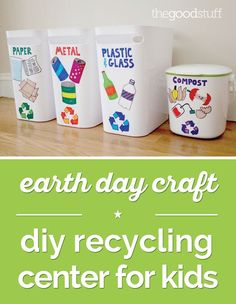 Earth Day Craft: DIY Recycling Center for Kids Celebrate Earth Day! Make a recycling center i. Recycling Station, Recycling For Kids, Diy Recycling, Recycling Center, Recycling Activities For Kids, Reuse Recycle, Easy Fall Crafts, Fall Crafts For Kids, Earth Day Activities