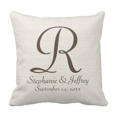 """Faux Textured Burlap Monogram 16"""" Square Pillow - This monogrammed 16"""" x 16"""" square pillow is decorated with a faux rustic bleached burlap textured off white background. Monogram and text are bronze color. Pattern and text repeat on back. Default fabric is cotton, but also available in polyester. Unique and beautiful home decor. classy, elegant, and chic. Neutral colors go with any decor. All Rights Reserved © 2014 Alan & Marcia Socolik."""