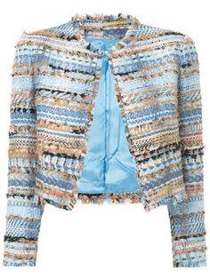 tweed-embroidered cropped jacket