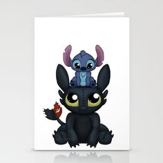 Can I Sit Here Stationery Cards by Katie Simpson  - $12.00 Toothless and Stitch together in a cute and adorable moment.