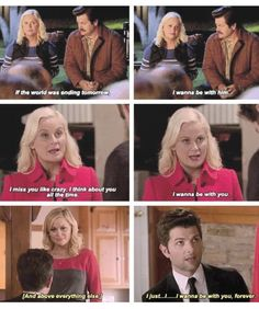 I never noticed this beautiful parallel before! And I have watched this show *a lot* Best Tv Shows, Best Shows Ever, Favorite Tv Shows, Movies And Tv Shows, Parks And Rec Memes, Parks And Recreation, Parcs And Rec, Leslie And Ben, Funny Jockes