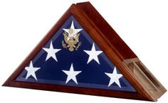 Our flag case and urn incorporates our Presidential flag case profile with a built-in urn compartment (225 cubic inch capacity) in the back of the flag case.