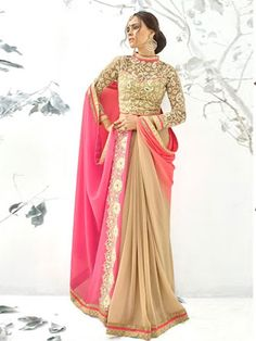 Tantalizing Beige Colored Shimmer And Georgette Designer Saree