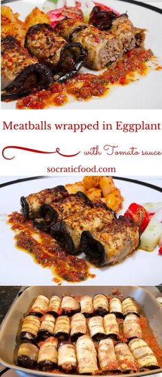 Meatballs Wrapped in Roasted Eggplant Slices – SocraticFood - eggplant recipes Turkish Meatballs, Eggplant Meatballs, New Recipes, Cooking Recipes, Healthy Recipes, Favorite Recipes, Paleo Meals, Veggie Recipes, Summer Recipes
