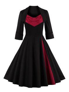 Retro Bowknot Design Color Block Sweetheart Neck Dress