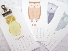 I know someone who would love this. Owls - Mini 2013 Calendar. $12.00, via Etsy.