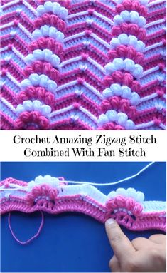 Crochet Amzing Zigzag Stitch Combined With Fan Stitch - Crochet Ideas zigzag stitch combined with fan stitch Crochet Baby Moses Bassinet Am I Really Finished? Simple Step by Step Slippers Tutorial Crochet Colorful Cluster Stitch Free Pattern Crochet Rever Stitch Crochet, Crochet Motifs, Crochet Stitches Patterns, Tunisian Crochet, Crochet Designs, Knitting Stitches, Crochet Baby, Knitting Patterns, Afghan Patterns