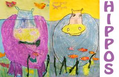 second grade drawing-hippos