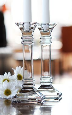 Marquis by Waterford Crystal, Treviso Crystal Candlesticks, Pair - The classic architectural design of these stunning solid Crystal Candlesticks are a dramatic addition to a formal table setting. Candles not included. Crystal Glassware, Waterford Crystal, Cut Glass, Glass Art, Chandeliers, Cafetiere, Crystal Collection, Elegant Homes, Glass House