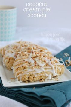 Coconut Cream Pie Scones - Pie for breakfast? Made with whole wheat flour, coconut milk, and sweetened with honey. Sold! www.happyfoodhealthylife.com #silkcoconutmilk