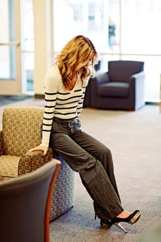 striped shirt and plaid pants