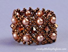 HOW to make a Ring using Swarovski Crystal Beads...Tutorial
