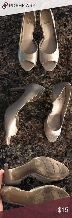 Beige/silver high heels Dressy heels. Open toe. Worn once for wedding. impo Shoes Heels