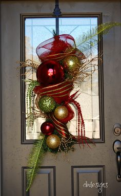 cbdesigns: Christmas Door Hanging and a Funky Wreath