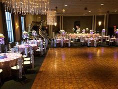 Table setup for Paris themed Quinceanera in our Tivoli room @ Chez Josef