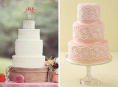 Lace Wedding Cakes | Simply Bloom/Chocolate Pink via Design Sponge (left); Little Venice Cake Company via Wedding Magazine (right)