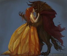 Not sure why the artist chose to make Belle's hair red, but I really like this piece :)